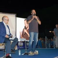 Foto Nicoloro G. 04/08/2018 Cervia ( Ravenna ) Festa della Lega Romagna. nella foto il ministro Matteo Salvini e il giornalista vicedirettore del Tg1 Gennaro Sangiuliano.