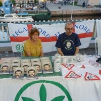 Foto Nicoloro G. 29/07/2017 Cervia ( Ravenna ) Comizio del segretario federale della Lega Nord alla Festa Nazionale Lega Nord Romagna. nella foto lo stand con il libro di Matteo Salvini.