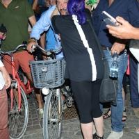 Foto Nicoloro G. 29/07/2017 Cervia ( Ravenna ) Comizio del segretario federale della Lega Nord alla Festa Nazionale Lega Nord Romagna. nella foto Matteo Salvini al suo arrivo in bicicletta attorniato dai suoi simpatizzanti tra selfie e abbracci.