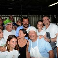 Foto Nicoloro G. 29/07/2017 Cervia ( Ravenna ) Comizio del segretario federale della Lega Nord alla Festa Nazionale Lega Nord Romagna. nella foto Matteo Salvini al suo arrivo tra i volontari nello stand della cucina.