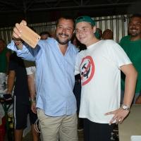 Foto Nicoloro G. 29/07/2017 Cervia ( Ravenna ) Comizio del segretario federale della Lega Nord alla Festa Nazionale Lega Nord Romagna. nella foto Matteo Salvini al suo arrivo in bicicletta si concede a numerosi selfie.