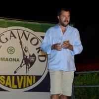 Foto Nicoloro G. 29/07/2017 Cervia ( Ravenna ) Comizio del segretario federale della Lega Nord alla Festa Nazionale Lega Nord Romagna. nella foto Matteo Salvini sul palco della Festa.