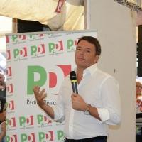 Foto Nicoloro G. 03/09/2017 Ravenna Il segreatario del PD interviene alla Festa dell' Unita' e pranza con alcune centinaia di persone. nella foto Matteo Renzi mentre interviene durante il pranzo.