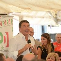 Foto Nicoloro G. 03/09/2017 Ravenna Il segretario del PD interviene alla Festa dell' Unita' e pranza con alcune centinaia di persone. nella foto Matteo Renzi mentre interviene durante il pranzo.