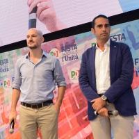 Foto Nicoloro G. 09/09/2018 Ravenna Serata di chiusura della Festa Nazionale de l' Unita'. nella foto da sinistra Paolo Calvano, segretario regionale PD, e Alberto Pandolfo, consigliere comunale a Genova.
