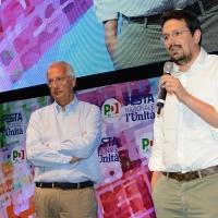 Foto Nicoloro G. 31/08/2018 Ravenna Festa Nazionale del PD. nella foto a sinistra Walter Veltroni e Alessandro Barattoni, segretario provinciale PD.