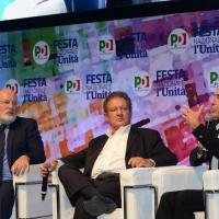 06/09/2018 Ravenna Festa Nazionale de l' Unita'. nella foto da sinistra Frans Timmermans, Antonio Di Bella e Marco Minniti.