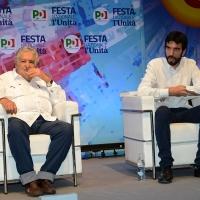 Foto Nicoloro G. 30/08/2018 Ravenna Continua la Festa Nazionale de l' Unita'. nella foto l' ex presidente dell' Uruguay Pepe Mujica e il segretario PD Maurizio Martina.