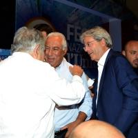 Foto Nicoloro G. 30/08/2018 Ravenna Continua la Festa Nazionale de l' Unita'. nella foto da sinistra Pepe Mujica, Antonio Costa e Paolo Gentiloni.