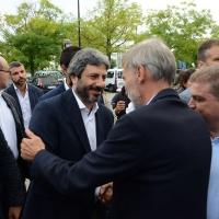 03/09/2018 Ravenna Festa Nazionale de L' Unitaì. nella foto Graziano Delrio accoglie il presidente della Camera Roberto Fico.