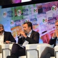 Foto Nicoloro G.   03/09/2018  Ravenna     Festa Nazionale de L' Unitaì. nella foto da sinistra Roberto Fico, Marco Damilano e Graziano Delrio.