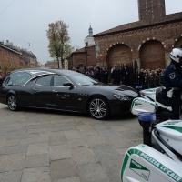 Foto Nicoloro G. 05/04/2016 Milano Si sono svolti nella Basilica di Sant' Ambrogio i funerali del campione di calcio Cesare Maldini. nella foto l' arrivo del feretro, su una scintillante Maserati, alla Basilica di Sant' Ambrogio.