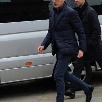 Foto Nicoloro G. 05/04/2016 Milano Si sono svolti nella Basilica di Sant' Ambrogio i funerali del campione di calcio Cesare Maldini. nella foto l' arrivo di Mauro Tassotti.