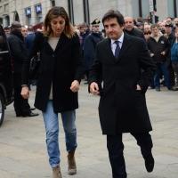 Foto Nicoloro G. 05/04/2016 Milano Si sono svolti nella Basilica di Sant' Ambrogio i funerali del campione di calcio Cesare Maldini. nella foto l' arrivo di Urbano Cairo.