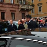Foto Nicoloro G. 05/04/2016 Milano Si sono svolti nella Basilica di Sant' Ambrogio i funerali del campione di calcio Cesare Maldini. nella foto l' arrivo di Silvio Berlusconi.