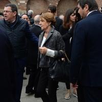 Foto Nicoloro G. 05/04/2016 Milano Si sono svolti nella Basilica di Sant' Ambrogio i funerali del campione di calcio Cesare Maldini. nella foto la moglie del campione scomparso Marisa.