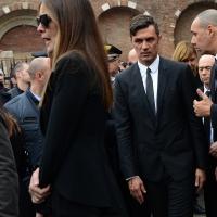 Foto Nicoloro G. 05/04/2016 Milano Si sono svolti nella Basilica di Sant' Ambrogio i funerali del campione di calcio Cesare Maldini. nella foto Paolo Maldini con la moglie Adriana Fossa.