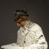 Foto Nicoloro G. 10/11/2017 Ravenna In corso al MAR ( Museo d' Arte di Ravenna ) la quinta edizione della Rassegna Biennale di Mosaico Contemporaneo dal titolo ' Montezuma, Fontana, Mirko. La scultura in mosaico dalle origini ad oggi '. nella foto una delle sculture in esposizione.