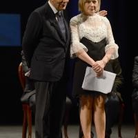Foto Nicoloro G. 03/12/2017 Ravenna 46° edizione del ' Premio Guidarello ' per il Giornalismo d' Autore. nella foto Bruno Vespa e Margherita Ghinassi che hanno condotto la serata.