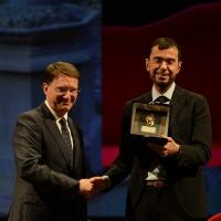 Foto Nicoloro G. 03/12/2017 Ravenna 46° edizione del ' Premio Guidarello ' per il Giornalismo d' Autore. nella foto lo storico Raffaele Liucci premiato per la sezioneCultura del Giornalismo Romagna.