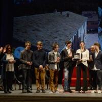 Foto Nicoloro G. 03/12/2017 Ravenna 46° edizione del ' Premio Guidarello ' per il Giornalismo d' Autore. nella foto gli studenti della 4 AIN dell' Istituto ' Nullo Baldini ' vincitori del Guidarello Giovani.