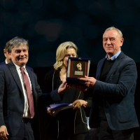 Foto Nicoloro G. 18/11/2018 Ravenna 47esima edizione del ' Premio Guidarello per il Giornalismo d' Autore '. nella foto l' editore Danilo Montanari premiato nella sezione societa' del Guidarello Romagna.