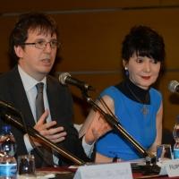 Foto Nicoloro G.   04/05/2016  Milano   Conferenza stampa di presentazione della diciassettesima edizione de ' La Milanesiana '. nella foto l' assessore Filippo Del Corno e Elisabetta Sgarbi.