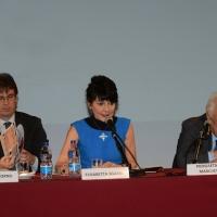 Foto Nicoloro G.   04/05/2016  Milano   Conferenza stampa di presentazione della diciassettesima edizione de ' La Milanesiana '. nella foto da sinistra l' assessore Filippo Del Corno, Elisabetta Sgarbi e il dirigente Rcs Piergaetano Marchetti.