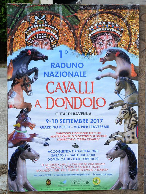 Foto Nicoloro G. 09/09/2017 Ravenna Primo raduno nazionale ' Cavalli a dondolo '. Un' iniziativa culturale e ludico-ricreativa nata per promuovere la cultura del gioco. nella foto il manifesto dell' iniziativa.