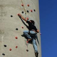 Foto Nicoloro G. 14/07/2017 Ravenna Inaugurata la torre di arrampicata che con i suoi 32 metri e' la piu' alta d' Italia. nella foto un momento di una arrampicata.