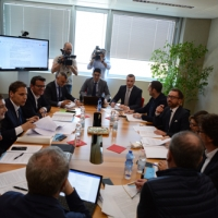 Foto Nicoloro G. 12/05/2018 Milano Riunione dei delegati negoziatori della Lega e del M5S per trovare una soluzione per il ' Contratto di Governo '. nella foto delegati al tavolo dei negoziati.