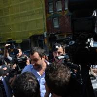 Foto Nicoloro G. 12/05/2018 Milano Riunione dei delegati negoziatori della Lega e del M5S per trovare una soliuzione per il ' Contratto di Governo '. nella foto l' arrivo di Matteo Salvini.