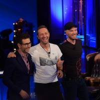 Foto Nicoloro G. 13/11/2016 Milano Trasmissione televisiva su Rai 3 ' Che tempo che fa '. nella foto Fabio Fazio con Jonny Buckland e Chris Martin dei Coldplay.