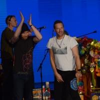 Foto Nicoloro G. 13/11/2016 Milano Trasmissione televisiva su Rai 3 ' Che tempo che fa '. nella foto Jonny Buckland e Chris Martin dei Coldplay.