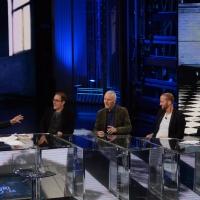 Foto Nicoloro G. 13/11/2016 Milano Trasmissione televisiva su Rai 3 ' Che tempo che fa '. nella foto da sinistra Fabio Fazio, Valerio Mastandrea, Roberto Pruzzo, Raf e Nino Frassica.