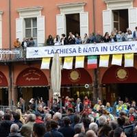 Foto Nicoloro G. 01/10/2017 Cesena ( Forli'-Cesena ) Visita di papa Francesco a Cesena. nella foto uno striscione riporta una frase del Pontefice.