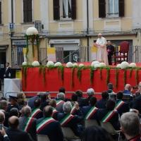 Foto Nicoloro G. 01/10/2017 Cesena ( Forli'-Cesena ) Visita di papa Francesco a Cesena. nella foto in prima fila sotto il palco alcuni sindaci della regione.