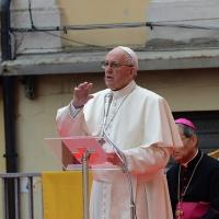 Foto Nicoloro G. 01/10/2017 Cesena ( Forli'-Cesena ) Visita di papa Francesco a Cesena. nella foto Papa Francesco durante il suo discorso.