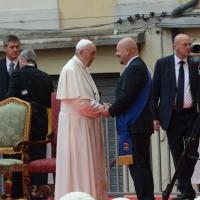 Foto Nicoloro G. 01/10/2017 Cesena ( Forli'-Cesena ) Visita di papa Francesco a Cesena. nella foto Papa Francesco incontra il presidente della provincia Forli'-Cesena Davide Drei.
