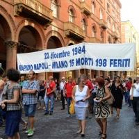 Foto Nicoloro G. 02/08/2016 Bologna, Trentaseiesimo anniversario della strage alla stazione di Bologna. nella foto Uno striscione lungo il corteo