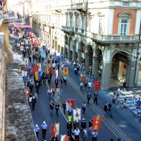 Foto Nicoloro G. 02/08/2016 Bologna, Trentaseiesimo anniversario della strage alla stazione di Bologna. nella foto Il corteo della manifestazione