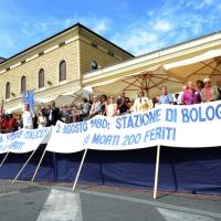 Foto Nicoloro G. 02/08/2016 Bologna, Trentaseiesimo anniversario della strage alla stazione di Bologna. nella foto Uno striscione sotto il palco.