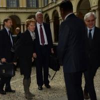 Foto Nicoloro G.   23/02/2015   Milano    Firmato l' accordo sullo scambio d' informazioni tra i ministri di Economia e Finanze di Italia e Svizzera. nella foto l' arrivo del ministro svizzero Eveline Widmer-Schlumpf.