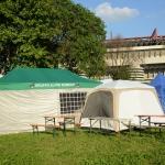 Foto Nicoloro G.   10/05/2019   Milano   Adunata Nazionale degli Alpini per il 100° anniversario della costituzione del Corpo. nella foto tende e camper accampati vicino allo stadio di calcio di San Siro.