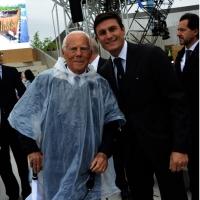 Foto Nicoloro G.   01/05/2015  Milano   Al via l' Expo Milano 2015, l' Esposizione Internazionale che l'Italia ospiterà dal primo Maggio al 31 Ottobre 2015. nella foto lo stilista Giorgio Armani con il campione di calcio Javier Zanetti.