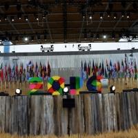 Foto Nicoloro G.   01/05/2015  Milano   Al via l' Expo Milano 2015, l' Esposizione Internazionale che l'Italia ospiterà dal primo Maggio al 31 Ottobre 2015. nella foto sul palco esposte tutte le bandiere delle Nazioni partecipanti.