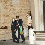 Foto Nicoloro G.   05/09/2020   Ravenna   Apertura delle celebrazioni nazionali per il 700° anniversario della morte del Sommo Poeta alla presenza del Capo dello Stato. nella foto il presidente Sergio Mattarella finita la visita alla Tomba di Dante esce accompagnato dal sindaco di Ravenna Michele de Pascale.