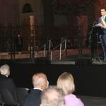 05/09/2020   Ravenna   Apertura delle celebrazioni nazionali per il 700° anniversario della morte del Sommo Poeta alla presenza del Capo dello Stato. nella foto sul palco il sindaco di Ravenna Michele de Pascale e in prima fila il presidente Sergio Mattarella.