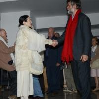 Foto Nicoloro G. 30/05/2013 Milano E' stata allestita nel Piccolo Teatro di via Rovello la camera ardente per Franca Rame, l' attrice si è spenta a 84 anni nella sua casa di Porta Romana a Milano. nella foto Carla Fracci – Jacopo Fo