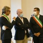 07/08/2020  Rimini   Allestita la camera ardente per Sergio Zavoli all' interno del teatro Galli. nella foto da sinistra Andrea Gnassi, Stefano Bonaccini e Michele de Pascale.